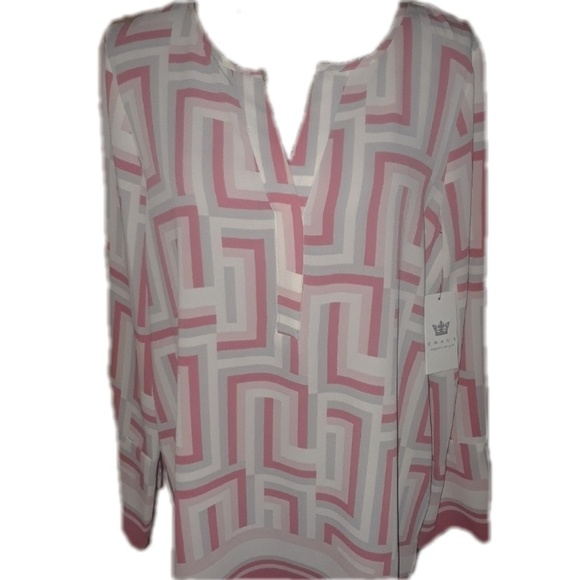 Chaus Tops - Classy pink grey Chaus New York blouse
